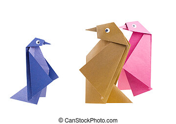 Origami Figures of penguins on white background. Isolated.