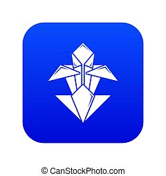 Origami flower icon blue