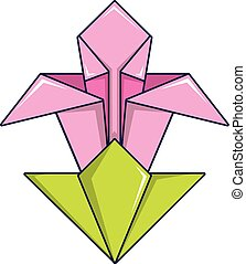 Origami Flower Icon Cartoon Style