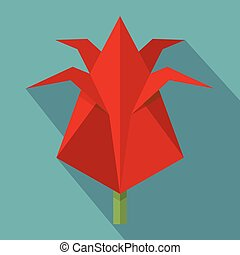 Origami flower icon, flat style