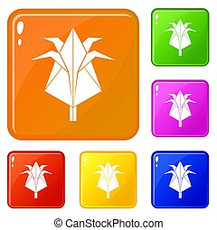 Origami flower icons set color