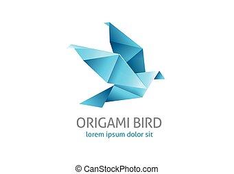 origami flying bird logo