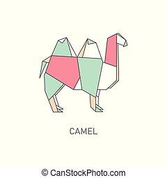 Origami folded paper camel animal flat vector illustration isolated on white.