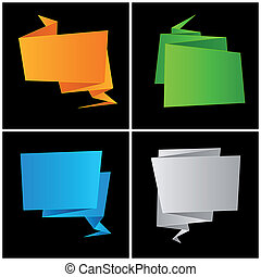 Origami, folded paper, set speech bubble
