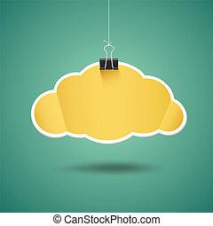 origami, forma, papel, amarillo, nube
