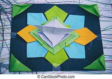 origami, géométrique, papier, coloré