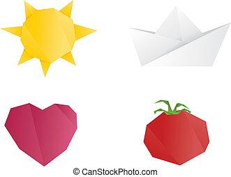 origami, gegenstände
