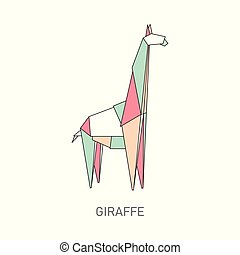 Origami giraffe from colorful folded paper