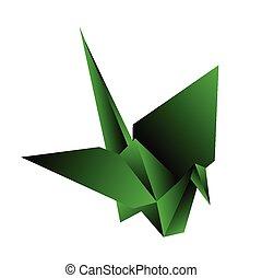 origami, grúa, vector, ilustración