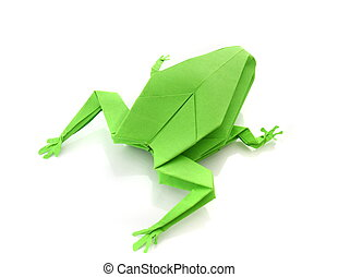 origami green frog isolated on white background