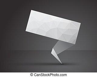 origami, gris, étiquette