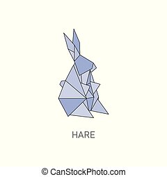 Origami hare art, cute blue rabbit folded from paper