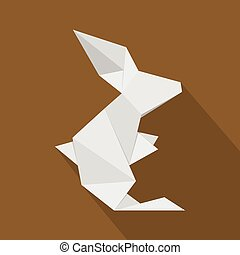 Origami Hare icon, flat style