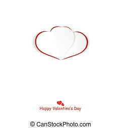Origami heart. Happy valentines day background. White card.