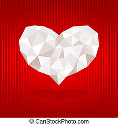 Origami heart on red background.