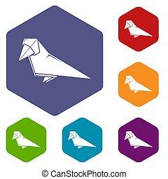 origami, hexahedron, oiseau, icônes
