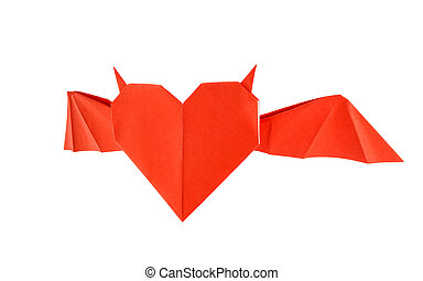 Origami horned heart isolated on white background