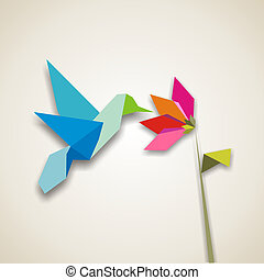 Origami hummingbird - Origami pastel colors hummingbird....