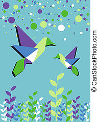 Origami hummingbird couple in blue colors palette background. Vector file available.