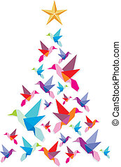 Christmas tree made of multicolored hummingbirds with a star on the top on white background. Vector file available.