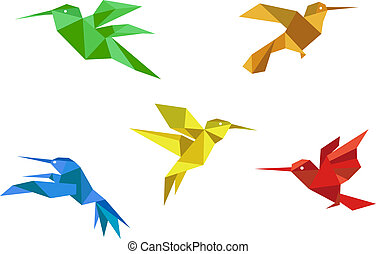 Origami hummingbirds set - Colorful hummingbirds set in...