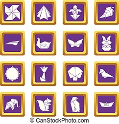 Origami icons set purple square vector