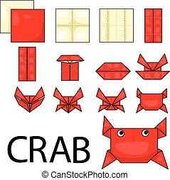 origami, illustrator, carangueijo