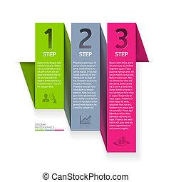 Origami infographics element