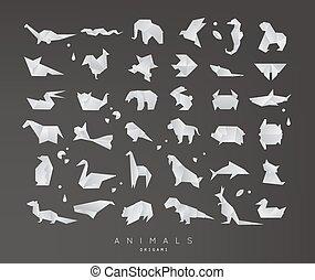 origami, jogo, animais