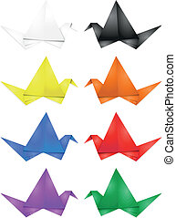 Origami, jogo, pássaro