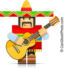 origami, juguete, mexicano, hombre