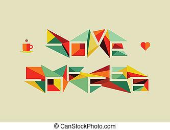 origami, kawa, pojęcie, miłość