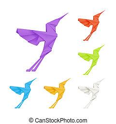 origami, kolibrie, vector, set