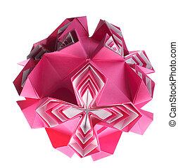 Origami kusudama pink box