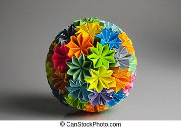 origami, kusudama, regenbogen