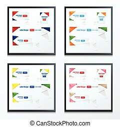 Origami label design set 4 style