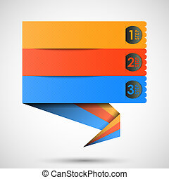 origami label (steps) for your text, vector