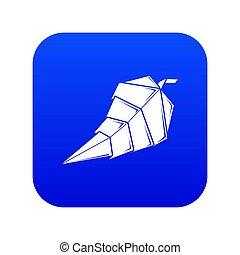 Origami leaf icon blue