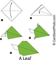 origami, leaf.