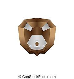 origami lion colorful vector design template illustration