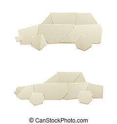 Origami logistic paper car transport concept original flat...