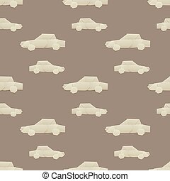Origami logistic paper car transport seamless pattern...