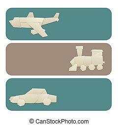 origami, logistisch, papier, transport, banner, original,...