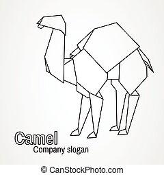 Origami logo contour camel
