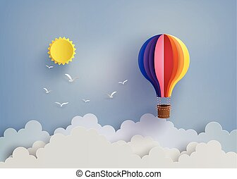 hot air balloon and cloud - Origami made colorful hot air...