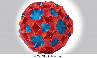 Origami Magic Ball. Amazing rotating red origami figure....