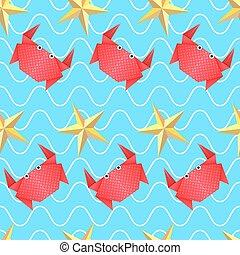 origami, mar, padrão