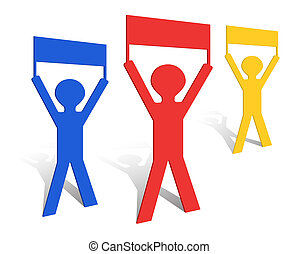 Paper Origami Men Holding Banners Vector Illustration Eps10
