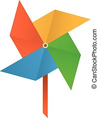 Origami mill icon, cartoon style - Origami mill icon....