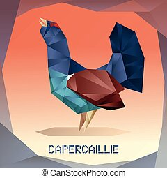 Origami mosaic Capercaillie - Vector image of the Origami...